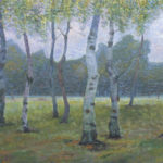 Birch Trees of St. Petersburg, 2016, oil on canvas, 40×90